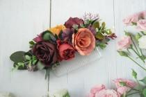wedding photo - Burgundy flower comb, Rust wedding comb,Wedding flower comb,Bride hair comb,Floral comb,Bridal hair accessories,Orange wedding comb