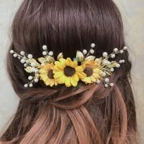 wedding photo - Sunflower hair clip, Sunflower hair comb, Sunflower hair piece , Sunflower hair piece, Sunflower hair accessories, Sunflower headpiece