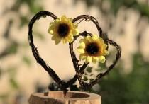 wedding photo - Sunflower Hearts Cake Topper ~ Vineyard Wedding ~ Country Wedding ~ Rustic Wedding