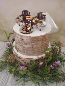 wedding photo - Roasting marshmallows small wedding cake topper s'mores camping campfire Adirondack chairs 6 inch cake bride and groom country barn wedding