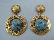 wedding photo - Birthday Gift Statement Earrings Turquoise Jewelry Stud Earring Geometric Western Jewelry Gold Turquoise or Black Cabochon #80443