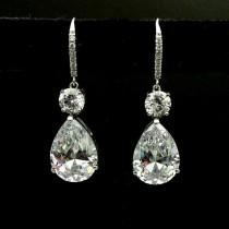 wedding photo - Affordable 3 Ct Pear Cut Moissanite Drop Earrings
