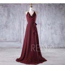 wedding photo - Bridesmaid Dress Maroon Chiffon Dress Wedding Dress Spaghetti Strap A-Line Prom Dress Halter Backless Maxi Dress V Neck Party Dress(H385)