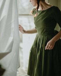 wedding photo - Olive Green Dress, Modest Dress, Pleated Dress, Vintage Style Dress, Retro Dress, Belt Dress, 1950's Dress, Fit And Flare Midi Dress