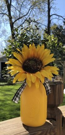 wedding photo - Sunflower Mason Jar Centerpiece