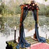wedding photo - Black Wedding Arch Chiffon Panels, Canopy Draping, Chuppah Drapes, Goth wedding arch panel