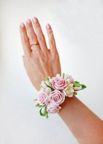wedding photo - Pink Rose Prom Wrist Corsage - Rustic Wedding Flower Bracelet, Beach Bridal Accessories