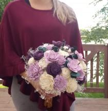 wedding photo - lilac and purple bouquet, bridal bouquet, sola wood flowers, lavender and plum,