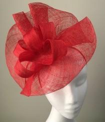 wedding photo - Tia Large Bright Red Fascinator, Royal Wedding Hat, Kentucky Derby Hat, Spring Racing Headband, Women's Tea Hat, Red Millinery,Derby Fashion