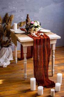 wedding photo - Terracotta gauze runner Rustic wedding table runner Boho table runner