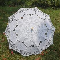 wedding photo - Handmade Artificial White Umbrella Vintage Victorian Lace Manual Opening Wedding Umbrella Black Bride Parasol For Red Wedding Sun Umbrella