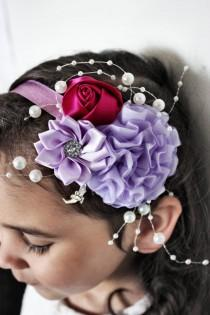 wedding photo - 12m to 4T Toddler Headband, Raspberry Rose Lilac Headband, Lilac Flower Headband, Baby Girl Headband Flower Girl Wedding Prop