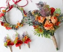 wedding photo - Fall wedding accessories set, Burnt orange greenery flower crown, Bridal wedding bouquet, Burnt orange groom or groomsman boutonniere