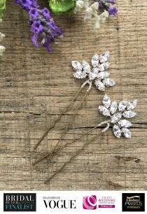 wedding photo - Bridal Hair Accessory, Wedding Hair Accessory, Swarovski Crystal Hair Pin, Silver Gold Diamante Hair Vine (2 x Clara Medium Hair Pins)
