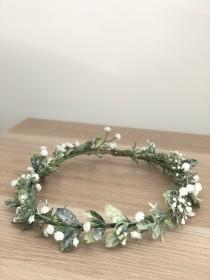 wedding photo - baby breath crown, olive leaf crown, baby breath crown, greenery crown, thin crown, green white crown, coachella crown, flower crown
