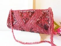 wedding photo - Vintage Red Beaded Evening Bag, Glamorous Bead Clutch Handbag  EB-0239