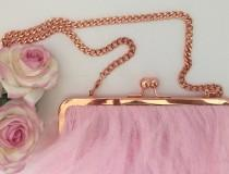 wedding photo - Pretty in Pink Ostritch Feather Bag / Bridal Clutch Bag / Rose Gold and Pink Purse / Prom Bag Kisslock Frame / Pink Wedding Theme