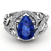 wedding photo - Pear Cut Sapphire Ring In 14K White Gold 2.32 Carat For Online Sale