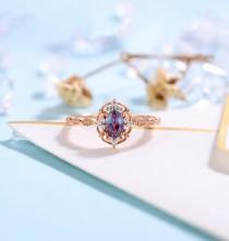 wedding photo - Vintage Alexandrite Engagement Ring Rose Gold wedding Ring