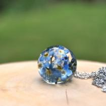 wedding photo - Real Forget-Me-Not Necklace • Mothers Day Flower Gift Idea • Real Blue Flower Resin Jewelry • Botanical Jewelry • Unique Gifts for Women