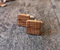 wedding photo - Square Irish Whiskey Barrel Wooden Cufflinks,5 Year Wedding Anniversary gift, Groomsmen gift , Groom cufflinks, Unique gift,Gifts for men