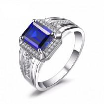 wedding photo - Mens Blue Sapphire Ring In 14k White Gold 4.40 Carat In Weight
