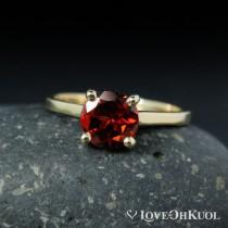wedding photo - Solitaire Red Garnet Engagement Ring, January Birthstone Bridal Ring, Four Prong Solitaire Ring