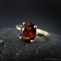 wedding photo - Yellow Gold Oval Cut Garnet Ring, Prong Set Red Oval Engagement Ring, January Birthstone Ring, Alternative Bridal Ring