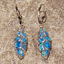 wedding photo - Blue opal earrings dangly leaf earrings Greek inspired sterling silver 925 made in Greece.