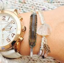 wedding photo - Smoky Quartz Bracelet, Smoky Quartz Jewelry, Gifts for Sister, Gift for Mom, Gift for Her, Stacking Bracelet, Womens Jewelry Gift