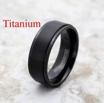 wedding photo - Titanium Ring, Black Titanium Ring, Titanium Band, Men's Titanium Band, Men's Titanium Ring, Men's Black Ring, Black Ring, Men's Ring,