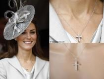 wedding photo - Handmade Kate Middleton Celebrity Inspired Princess Cut Cubic Zirconia CZ Pendant Necklace, Bridal, Wedding (Sparkle-2750)