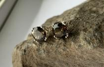 wedding photo - Round Natural Smokey Quartz Set in Sterling Silver Filigree Stud Earrings Multiple Sizes 4mm 5mm 6mm 8mm Screw-back or Push-back Posts