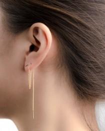 wedding photo - Long Threader Earrings - Delicate Chain Earrings - Edgy Earrings - Pull Trough Earrings - Bar Ear Threader - String Earrings - CHE024