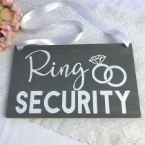 wedding photo - Ring Security Wood Sign, Ring Bearer Sign, Rustic Wedding Decor, Rings Sign, Wedding Decor, Bride Sign, Wedding Signs, Ceremony Sign