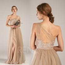 wedding photo - Bridesmaid Dress Pale Khaki Tulle Prom Dress One Shoulder Wedding Dress Illusion Sweetheart Party Dress Long A-line Slit Maxi Dress(HS749)
