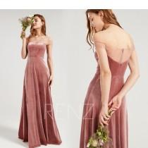 wedding photo - Bridesmaid Dress Dusty Rose Velvet Wedding Dress Off the Shoulder Formal Dress A-line Maxi Dress Straight Across Neckline Prom Dress (HV963)