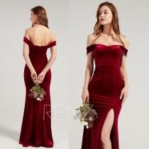 wedding photo - Formal Dress Wine Velvet Bridesmaid Dress Sweehtheart Neckline Party Dress Long Slit Fitted Evening Dress Off the Shoulder Prom Dress(HV962)