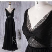 wedding photo - Bridesmaid Dress Black V Neck Boho Lace Long Formal Dress Ruched Chiffon Evening Dress Women (L135)
