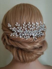 wedding photo - Bridal Crystal Hair Comb, Crystal Hair Piece, Wedding Floral Hairpiece, Wedding Hair Jewelry, Bridal Headpiece, Wedding Crystal Hairpiece