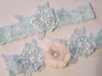 wedding photo - Powder Blue & Blush Wedding Garter Set, Something Blue Lace Garters, Rhinestone, Light Blue Lace Bride's Garter w/ Blush, Blue Prom Garters