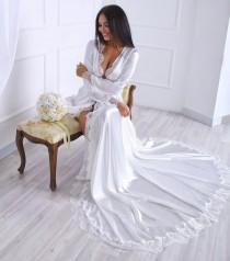 wedding photo - Long satin robe, Ivory silk robe, Plus size kimono, Wedding gown, Long ivory robe with lace back, Ivory robe with train, Custom robe
