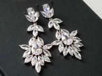 wedding photo - Crystal Bridal Earrings, Wedding Chandelier Earrings, Crystal Silver Dangle Earrings, Statement Earrings, Bridal Jewelry Sparkly CZ Earrings