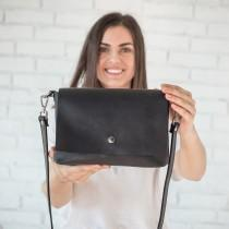 wedding photo - Leather Crossbody Bag With Adjustable Strap • Women Leather Shoulder Bags • Black Small Leather Purse • Everyday Crossbody Leather Bags