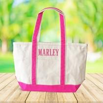 wedding photo - Personalized Canvas Tote Bag, Monogrammed Tote Bag, Personalized Graduation Gift, Bridesmaid Tote, Custom Canvas Tote Bag, Beach Gift Tote