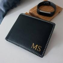 wedding photo - Personalised pu leather wallet, personalised wallet for men, monogram wallet, groom gift, fathers day wallet gift, mens card holder wallet