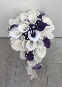 wedding photo - Bride purple and white calla lily teardrop bouquet artificial wedding flowers real touch calla lilies foam roses pearls diamante brooches