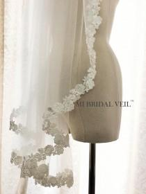 wedding photo - Lace Wedding Veil Fingertip, Lace Bridal Veil, Rose Lace Veil, Bridal Veil Lace at Chest, Ivory Venice Lace Veil, Mi Bridal Veil, Hand Made