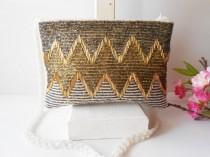 wedding photo - Vintage Beaded Evening Bag, Pearl Grey Gold, Glamorous Beaded Clutch Handbag EB-0415