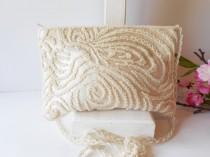 wedding photo - Vintage White Evening Bag, Beaded Clutch Handbag, Wedding Bridal,   EB-0015